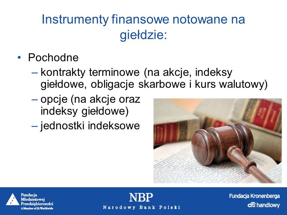 Instrumenty finansowe notowane na giełdzie: Pochodne –kontrakty terminowe (na akcje, indeksy giełdowe, obligacje skarbowe i kurs walutowy) –opcje (na