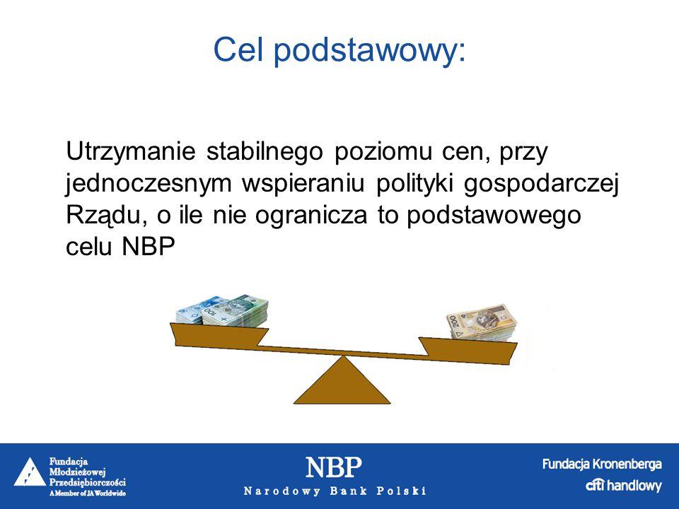 NBP ma wyłączne prawo wprowadzania do obiegu banknotów i monet złotych i groszy, prowadzenie polityki pieniężnej, której celem jest utrzymanie stabilnego poziomu cen, obsługa bankowa budżetu państwa, zarządzanie rezerwami dewizowymi, organizacja rozliczenia na rynku międzybankowym, prowadzenie rachunków bieżących banków komercyjnych, regulowanie płynności banków oraz ich refinansowanie, kształtowanie warunków niezbędnych dla rozwoju systemu bankowego, opracowywanie statystyki pieniężnej i bankowej, bilansu płatniczego oraz międzynarodowej pozycji inwestycyjnej.