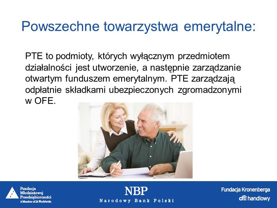 Lista aktualnie działających PTE : AEGON PTE S.A.AIG PTE PTE Allianz Polska S.A.