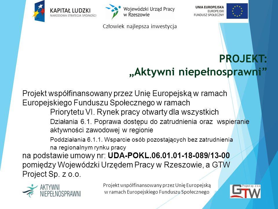 PROJEKT: Aktywni niepełnosprawni Człowiek najlepsza inwestycja Projekt współfinansowany przez Unię Europejską w ramach Europejskiego Funduszu Społeczn