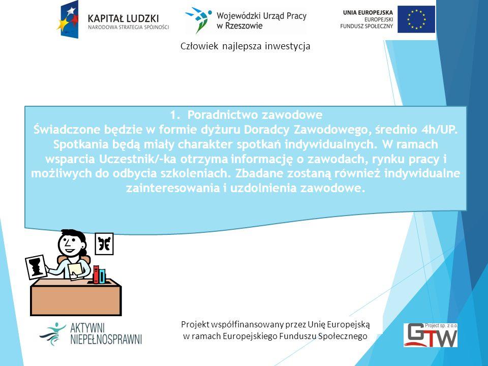 Człowiek najlepsza inwestycja Projekt współfinansowany przez Unię Europejską w ramach Europejskiego Funduszu Społecznego 1.Poradnictwo zawodowe Świadc