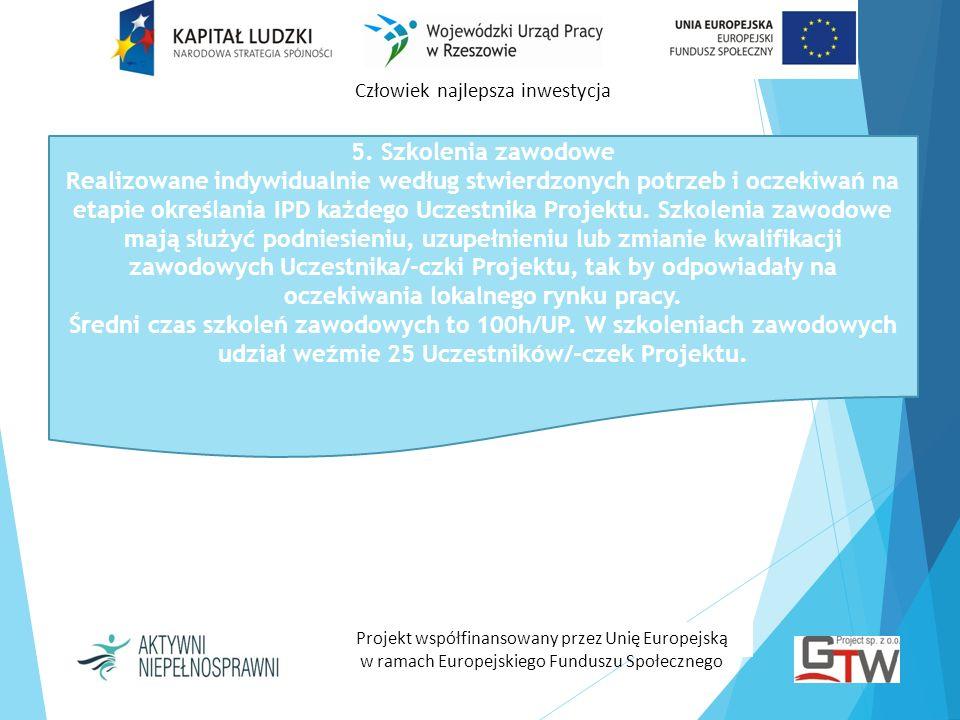 Człowiek najlepsza inwestycja Projekt współfinansowany przez Unię Europejską w ramach Europejskiego Funduszu Społecznego 5. Szkolenia zawodowe Realizo