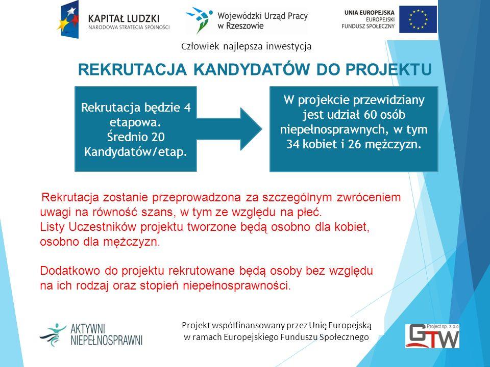 Człowiek najlepsza inwestycja Projekt współfinansowany przez Unię Europejską w ramach Europejskiego Funduszu Społecznego Rekrutacja zostanie przeprowa