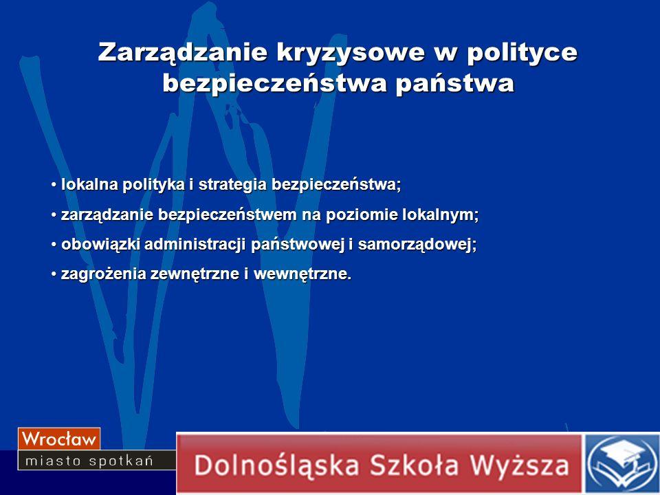 Zarządzanie kryzysowe w polityce bezpieczeństwa państwa lokalna polityka i strategia bezpieczeństwa; lokalna polityka i strategia bezpieczeństwa; zarz