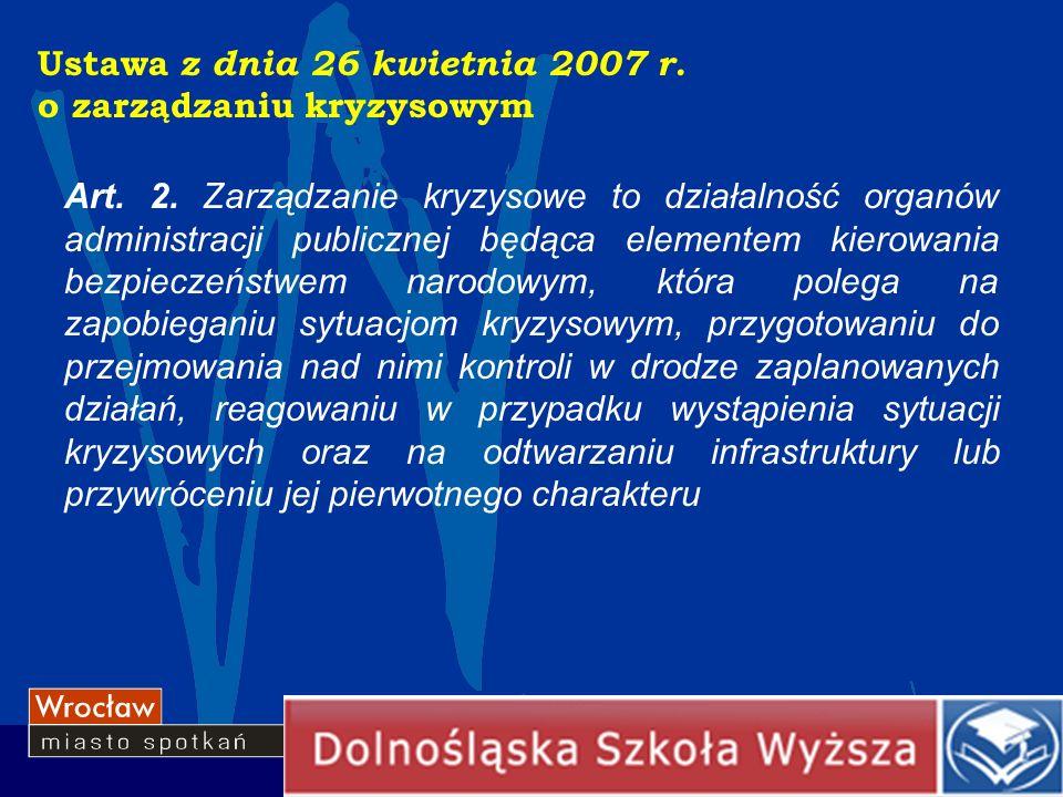 Ustawa z dnia 26 kwietnia 2007 r. o zarządzaniu kryzysowym Art. 2. Zarządzanie kryzysowe to działalność organów administracji publicznej będąca elemen