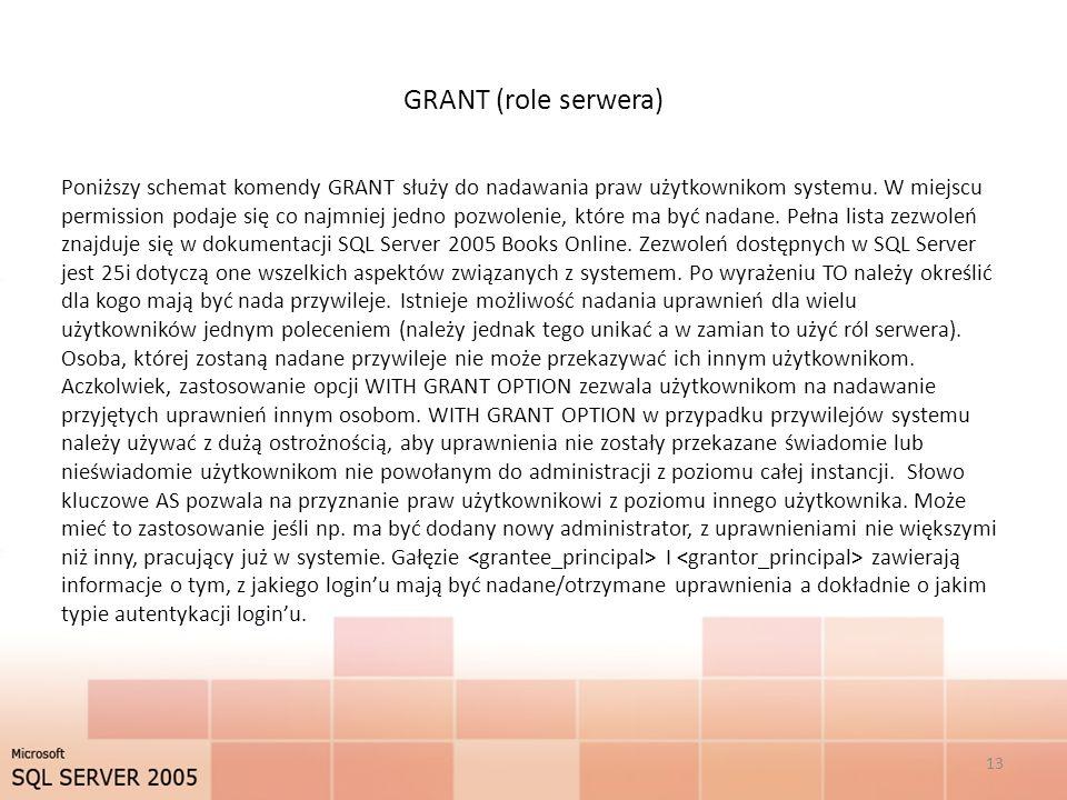 GRANT (role serwera) 13 Poniższy schemat komendy GRANT służy do nadawania praw użytkownikom systemu. W miejscu permission podaje się co najmniej jedno