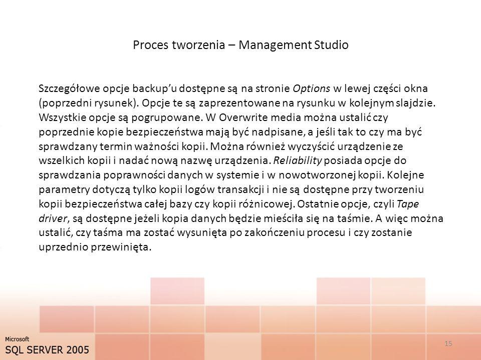 Proces tworzenia – Management Studio 15 Szczegółowe opcje backupu dostępne są na stronie Options w lewej części okna (poprzedni rysunek).