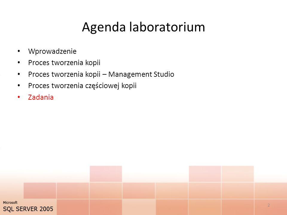 Agenda laboratorium Wprowadzenie Proces tworzenia kopii Proces tworzenia kopii – Management Studio Proces tworzenia częściowej kopii Zadania 2