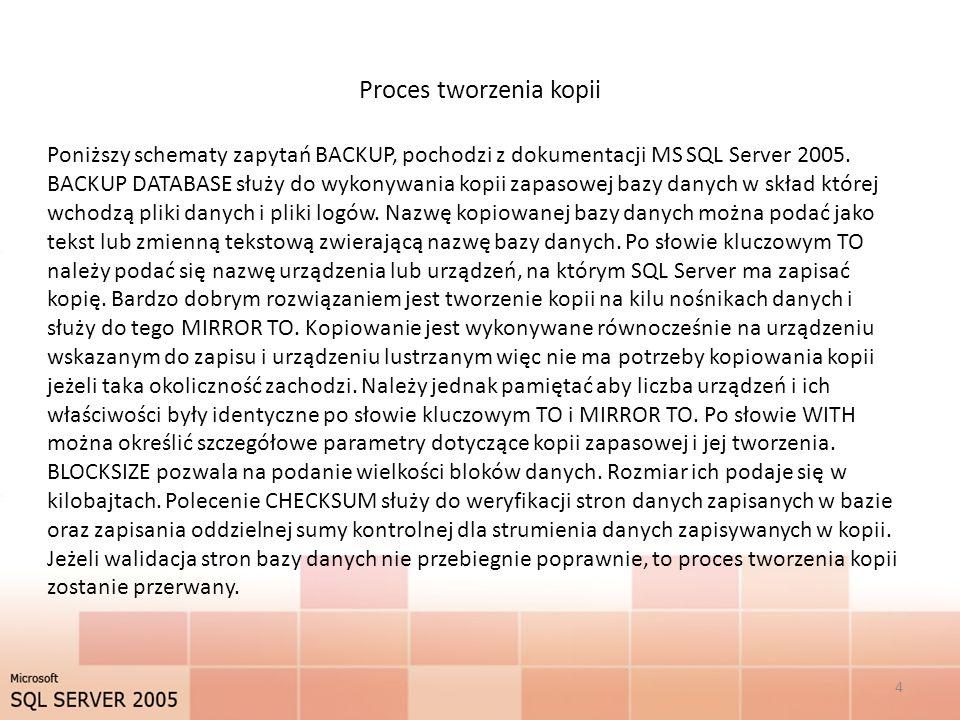 Proces tworzenia kopii 4 Poniższy schematy zapytań BACKUP, pochodzi z dokumentacji MS SQL Server 2005.