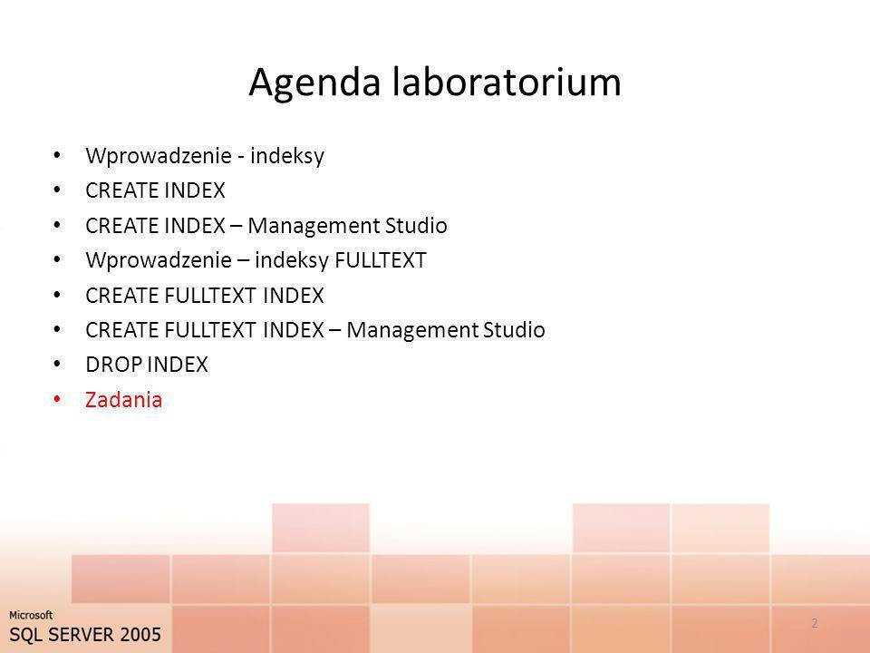 CREATE INDEX – Management Studio 13 W nowym oknie, Indexes/Keys (Rys 4.15) dostępne są opcje indeksowania.