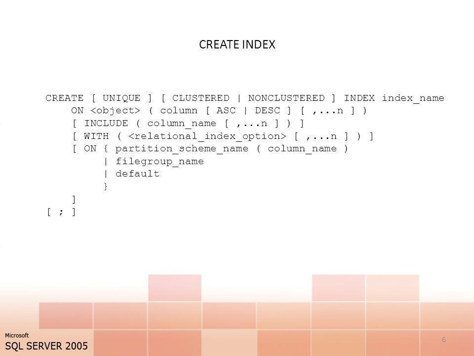 CREATE INDEX - object Poniższa gałąź pokazuje jak należy definiować nazwę tabeli lub widoku.