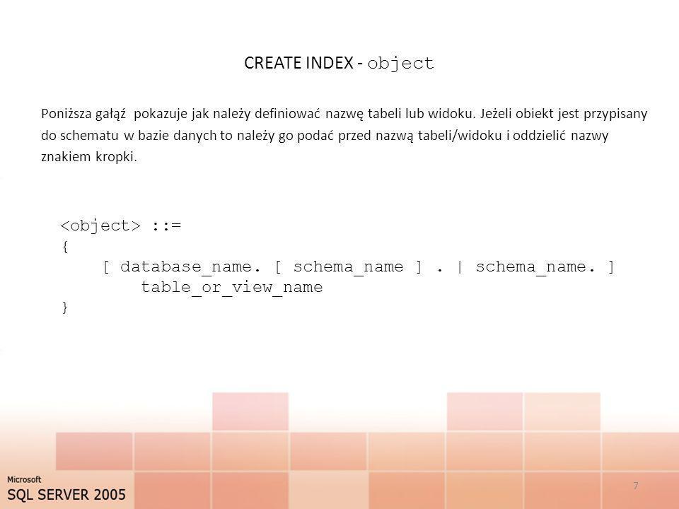 CREATE INDEX - object Poniższa gałąź pokazuje jak należy definiować nazwę tabeli lub widoku. Jeżeli obiekt jest przypisany do schematu w bazie danych