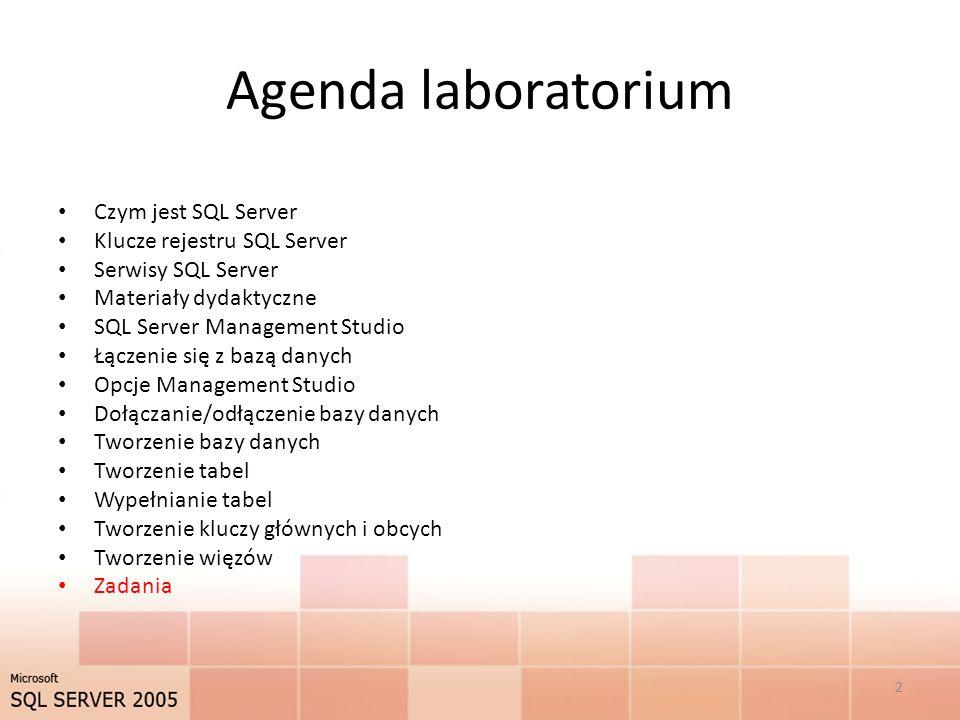 Agenda laboratorium Czym jest SQL Server Klucze rejestru SQL Server Serwisy SQL Server Materiały dydaktyczne SQL Server Management Studio Łączenie się z bazą danych Opcje Management Studio Dołączanie/odłączenie bazy danych Tworzenie bazy danych Tworzenie tabel Wypełnianie tabel Tworzenie kluczy głównych i obcych Tworzenie więzów Zadania 2