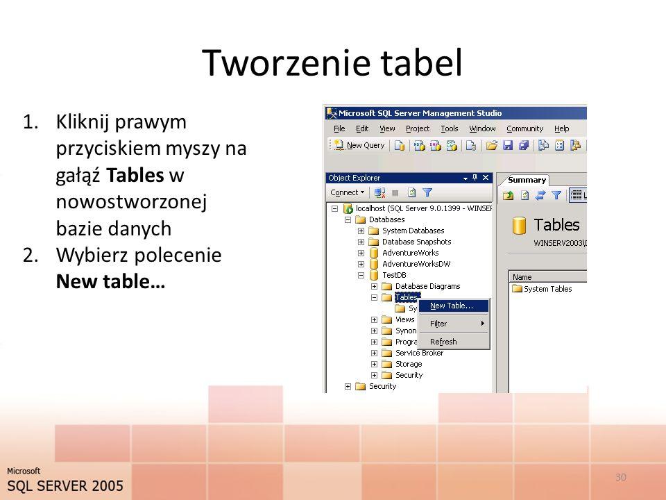 Tworzenie tabel 1.Kliknij prawym przyciskiem myszy na gałąź Tables w nowostworzonej bazie danych 2.Wybierz polecenie New table… 30