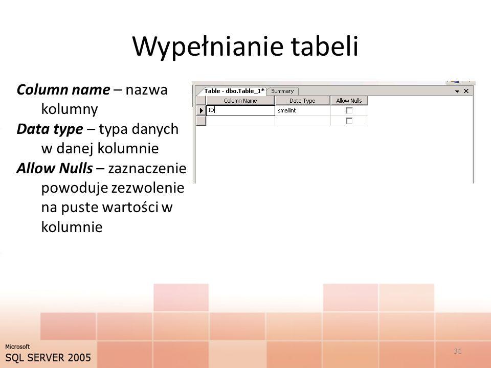 Wypełnianie tabeli Column name – nazwa kolumny Data type – typa danych w danej kolumnie Allow Nulls – zaznaczenie powoduje zezwolenie na puste wartości w kolumnie 31