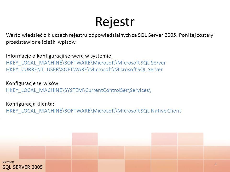 Rejestr Warto wiedzieć o kluczach rejestru odpowiedzialnych za SQL Server 2005.