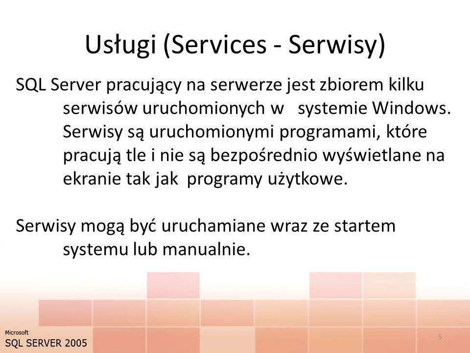 Połączenie - pola Server type – należy wybrać Database Engine Server Name – nazwa serwera stworzonego przez administratora (np.