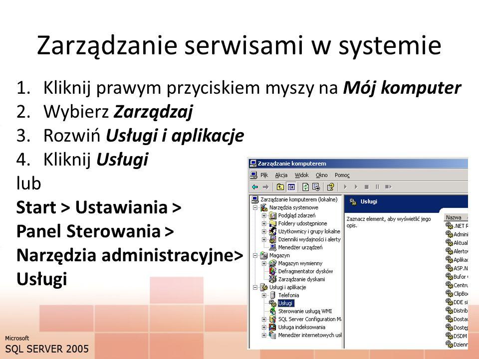 Zarządzanie serwisami w systemie 1.Kliknij prawym przyciskiem myszy na Mój komputer 2.Wybierz Zarządzaj 3.Rozwiń Usługi i aplikacje 4.Kliknij Usługi lub Start > Ustawiania > Panel Sterowania > Narzędzia administracyjne> Usługi 8