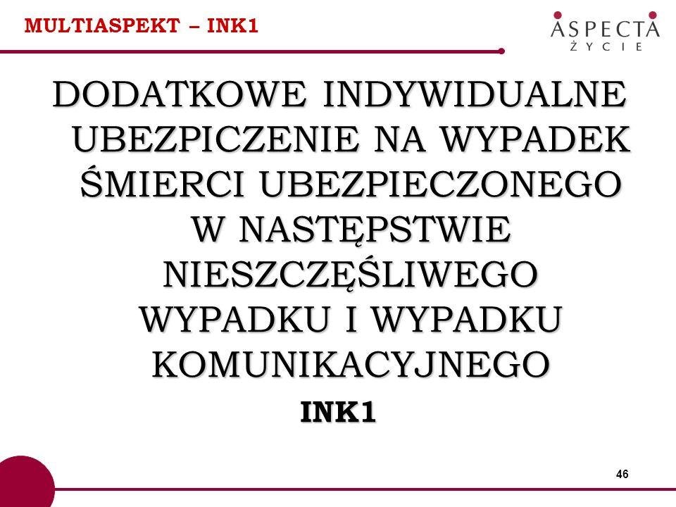 46 MULTIASPEKT – INK1 DODATKOWE INDYWIDUALNE UBEZPICZENIE NA WYPADEK ŚMIERCI UBEZPIECZONEGO W NASTĘPSTWIE NIESZCZĘŚLIWEGO WYPADKU I WYPADKU KOMUNIKACY