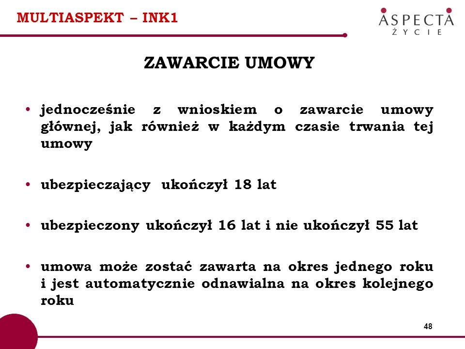 48 MULTIASPEKT – INK1 ZAWARCIE UMOWY jednocześnie z wnioskiem o zawarcie umowy głównej, jak również w każdym czasie trwania tej umowy ubezpieczający u