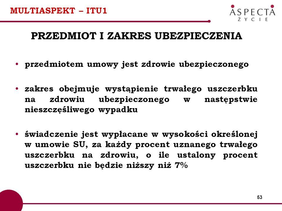 53 MULTIASPEKT – ITU1 PRZEDMIOT I ZAKRES UBEZPIECZENIA przedmiotem umowy jest zdrowie ubezpieczonego zakres obejmuje wystąpienie trwałego uszczerbku n