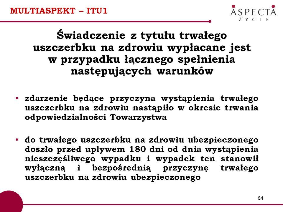 54 MULTIASPEKT – ITU1 Świadczenie z tytułu trwałego uszczerbku na zdrowiu wypłacane jest w przypadku łącznego spełnienia następujących warunków zdarze