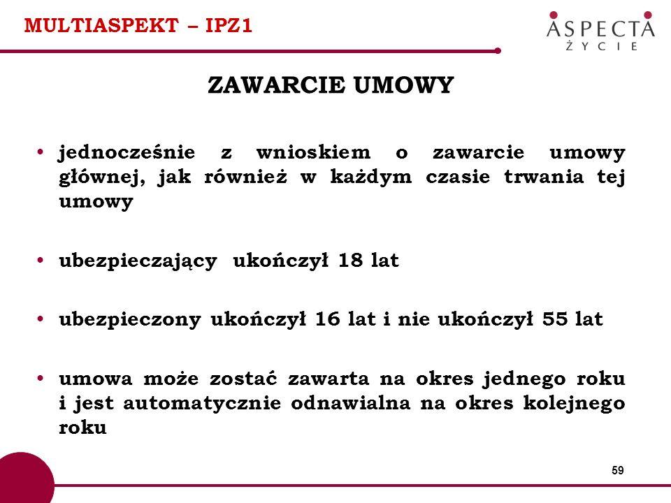 59 MULTIASPEKT – IPZ1 ZAWARCIE UMOWY jednocześnie z wnioskiem o zawarcie umowy głównej, jak również w każdym czasie trwania tej umowy ubezpieczający u