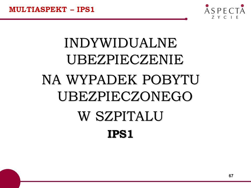 67 MULTIASPEKT – IPS1 INDYWIDUALNE UBEZPIECZENIE NA WYPADEK POBYTU UBEZPIECZONEGO W SZPITALU IPS1