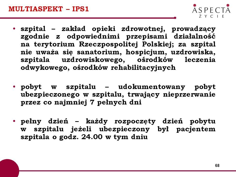 68 MULTIASPEKT – IPS1 szpital – zakład opieki zdrowotnej, prowadzący zgodnie z odpowiednimi przepisami działalność na terytorium Rzeczpospolitej Polsk