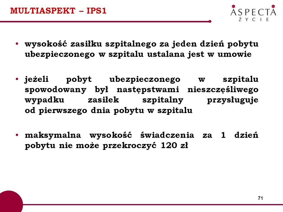 71 MULTIASPEKT – IPS1 wysokość zasiłku szpitalnego za jeden dzień pobytu ubezpieczonego w szpitalu ustalana jest w umowie jeżeli pobyt ubezpieczonego
