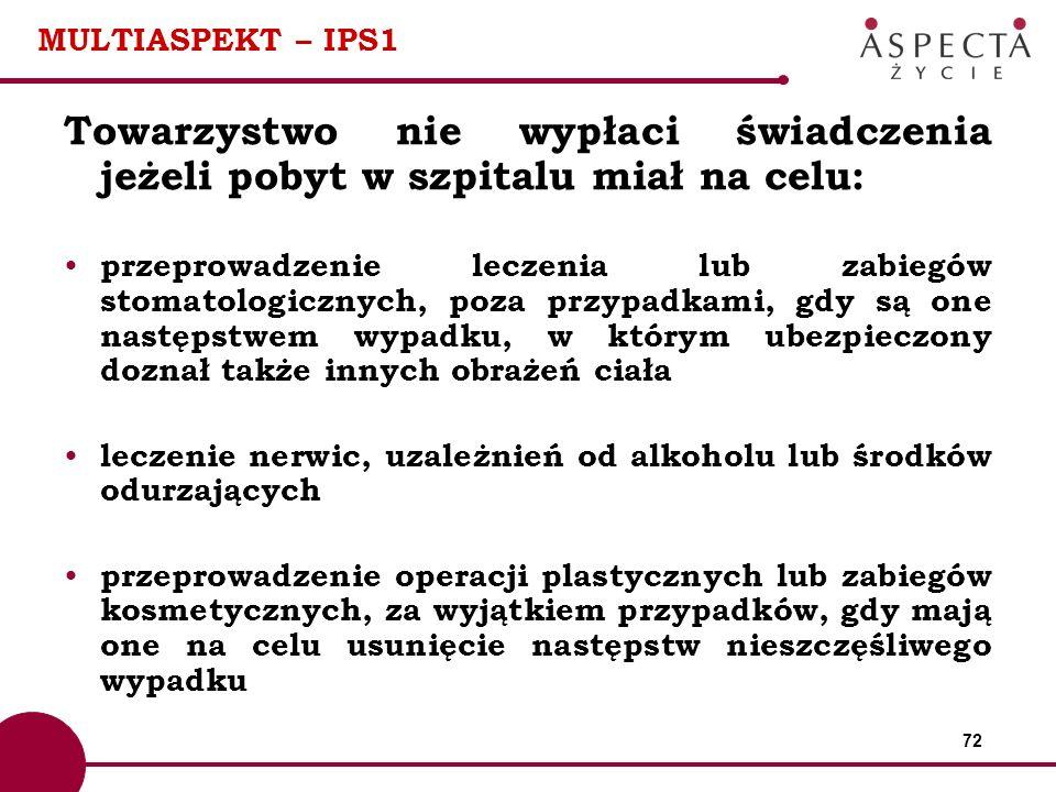 72 MULTIASPEKT – IPS1 Towarzystwo nie wypłaci świadczenia jeżeli pobyt w szpitalu miał na celu: przeprowadzenie leczenia lub zabiegów stomatologicznyc