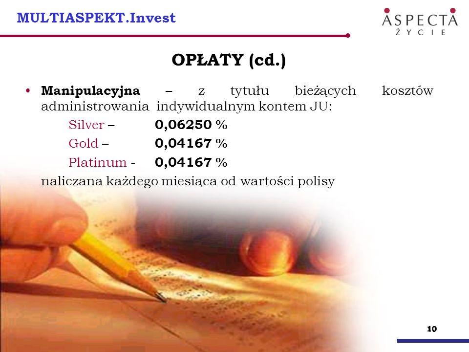 10 MULTIASPEKT.Invest OPŁATY (cd.) Manipulacyjna – z tytułu bieżących kosztów administrowania indywidualnym kontem JU: Silver – 0,06250 % Gold – 0,041
