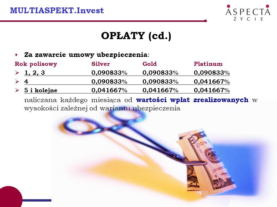 11 MULTIASPEKT.Invest OPŁATY (cd.) Za zawarcie umowy ubezpieczenia : Rok polisowySilver Gold Platinum 1, 2, 30,090833% 0,090833% 0,090833% 40,090833%