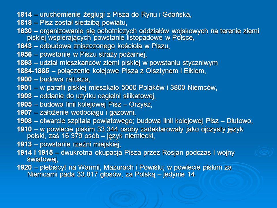 1814 – uruchomienie żeglugi z Pisza do Rynu i Gdańska, 1818 – Pisz został siedzibą powiatu, 1830 – organizowanie się ochotniczych oddziałów wojskowych