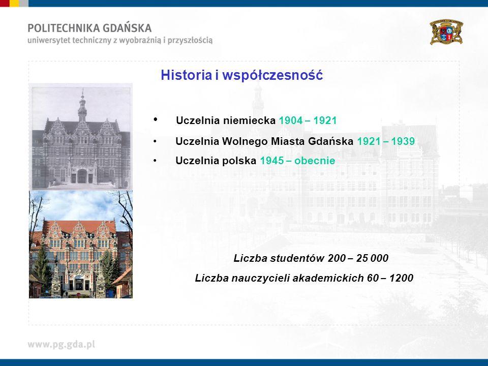 Historia i współczesność Uczelnia niemiecka 1904 – 1921 Uczelnia Wolnego Miasta Gdańska 1921 – 1939 Uczelnia polska 1945 – obecnie Liczba studentów 20