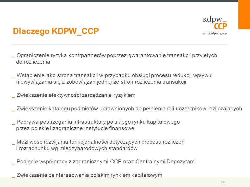 14 Dlaczego KDPW_CCP _ Ograniczenie ryzyka kontrpartnerów poprzez gwarantowanie transakcji przyjętych do rozliczenia _ Wstąpienie jako strona transakc