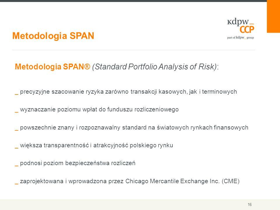Metodologia SPAN 16 Metodologia SPAN® (Standard Portfolio Analysis of Risk): _ precyzyjne szacowanie ryzyka zarówno transakcji kasowych, jak i termino