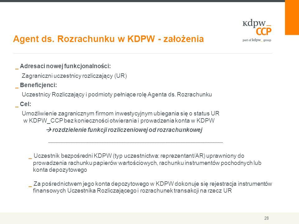 Agent ds. Rozrachunku w KDPW - założenia 28 _ Adresaci nowej funkcjonalności: Zagraniczni uczestnicy rozliczający (UR) _ Beneficjenci: Uczestnicy Rozl