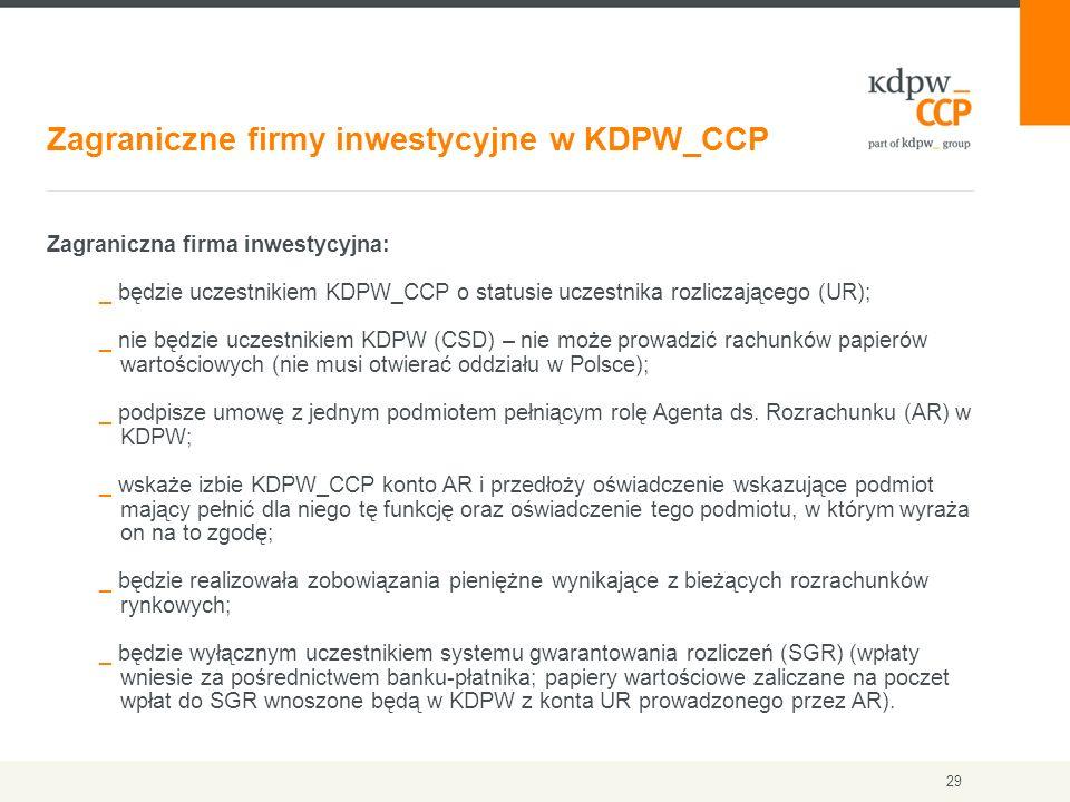 Zagraniczne firmy inwestycyjne w KDPW_CCP 29 Zagraniczna firma inwestycyjna: _ będzie uczestnikiem KDPW_CCP o statusie uczestnika rozliczającego (UR);