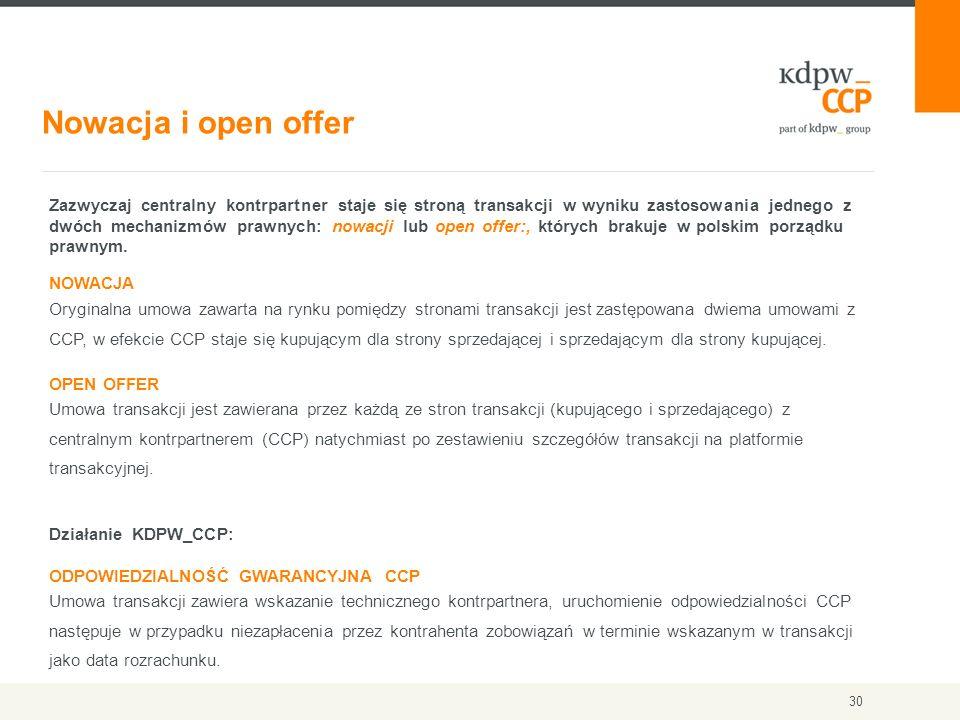 Nowacja i open offer 30 Zazwyczaj centralny kontrpartner staje się stroną transakcji w wyniku zastosowania jednego z dwóch mechanizmów prawnych: nowac