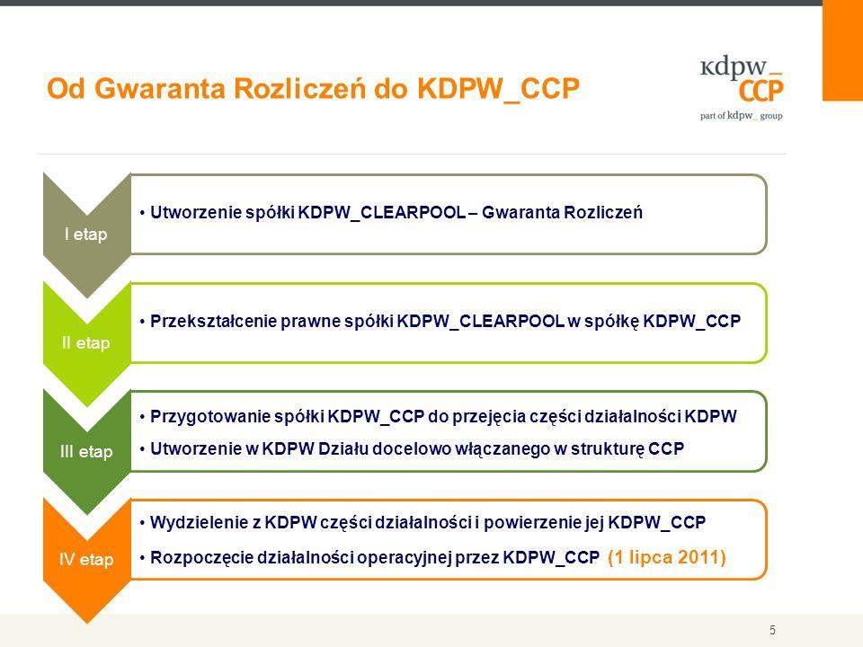 6 Zgodnie z międzynarodowymi standardami, ze względu na odmienny charakter ryzyka z tytułu świadczenia usług izby rozliczeniowej CCP oraz ryzyka z tytułu działalności centralnego depozytu papierów wartościowych (KDPW), konieczne było wyodrębnienie suwerennego podmiotu prawnego do świadczenia usług izby rozliczeniowej – KDPW_CCP Głównym zadaniem izb rozliczeniowych jest prowadzenie rozliczeń transakcji z zastosowaniem mechanizmów, które pozwalają na systemowe obniżenie ryzyka niewywiązania się stron ze zobowiązań wynikających z zawartych transakcji.