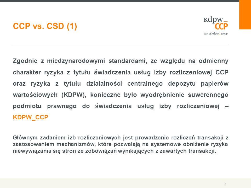 6 Zgodnie z międzynarodowymi standardami, ze względu na odmienny charakter ryzyka z tytułu świadczenia usług izby rozliczeniowej CCP oraz ryzyka z tyt