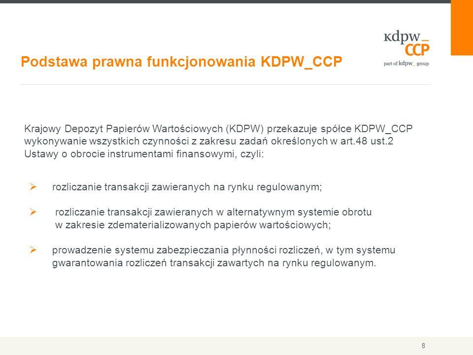 Podstawa prawna funkcjonowania KDPW_CCP 8 Krajowy Depozyt Papierów Wartościowych (KDPW) przekazuje spółce KDPW_CCP wykonywanie wszystkich czynności z