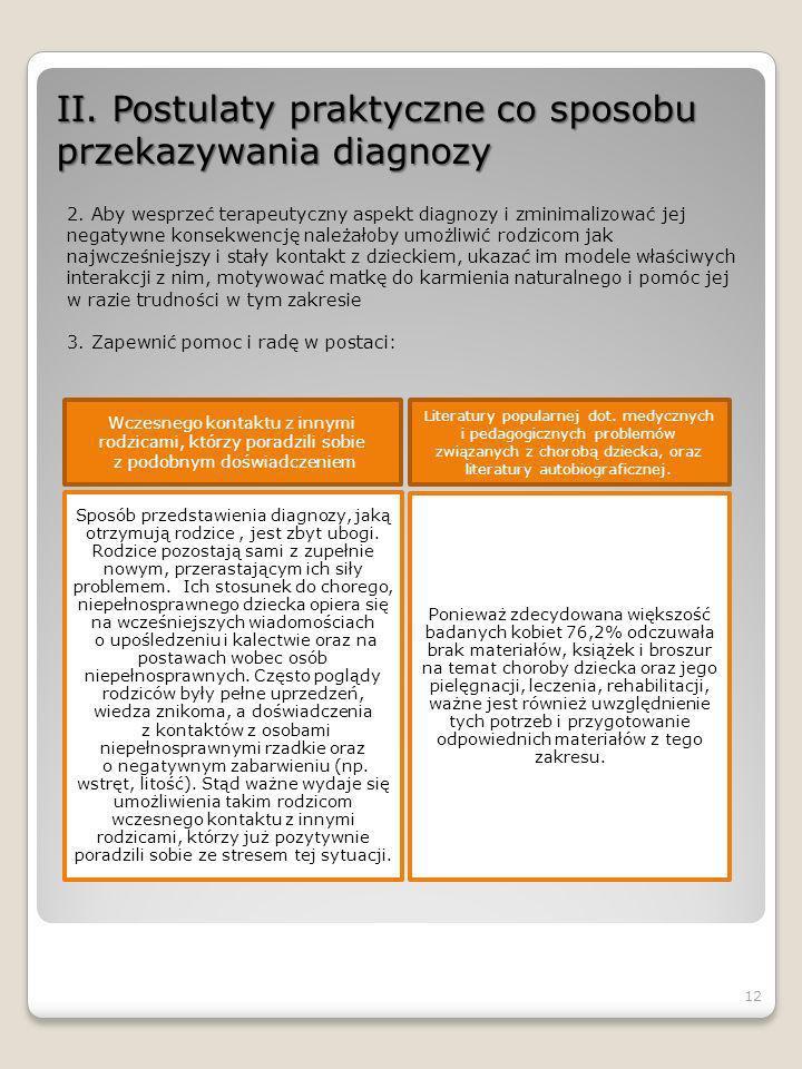 II. Postulaty praktyczne co sposobu przekazywania diagnozy 2. Aby wesprzeć terapeutyczny aspekt diagnozy i zminimalizować jej negatywne konsekwencję n
