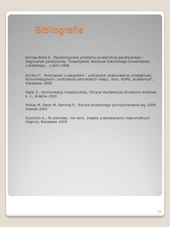 Bibliografia 1. Kornas-Biela D., Psychologiczne problemy poradnictwa genetycznego i diagnostyki genetycznej, Towarzystwo Naukowe Katolickiego Uniwersy