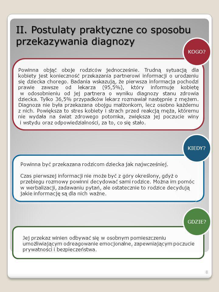 II. Postulaty praktyczne co sposobu przekazywania diagnozy KOGO? Powinna objąć oboje rodziców jednocześnie. Trudną sytuacją dla kobiety jest konieczno