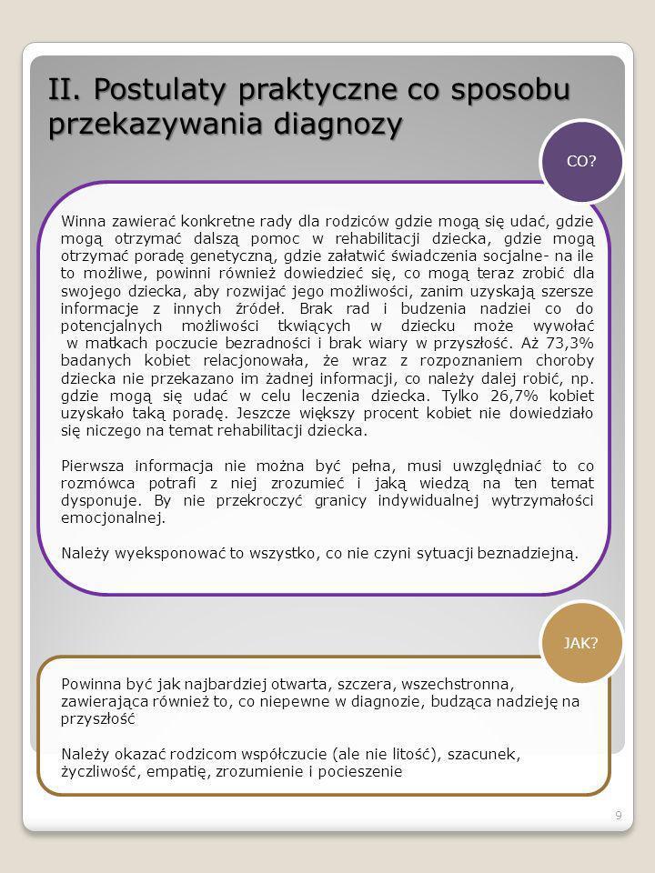 II. Postulaty praktyczne co sposobu przekazywania diagnozy CO? Winna zawierać konkretne rady dla rodziców gdzie mogą się udać, gdzie mogą otrzymać dal