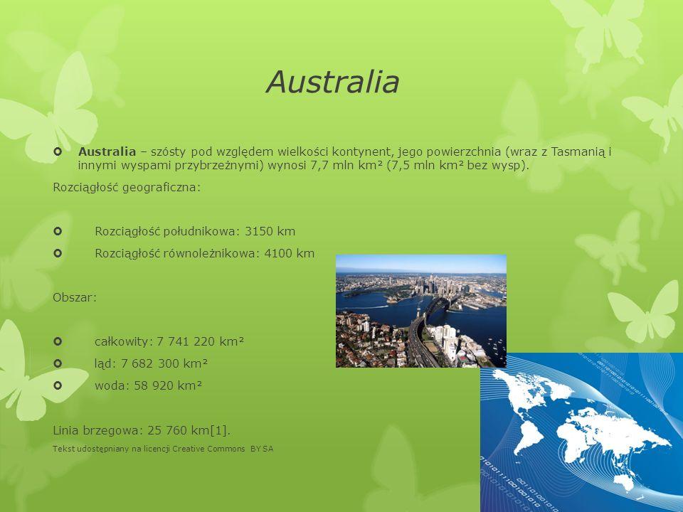 Australia Australia – szósty pod względem wielkości kontynent, jego powierzchnia (wraz z Tasmanią i innymi wyspami przybrzeżnymi) wynosi 7,7 mln km² (