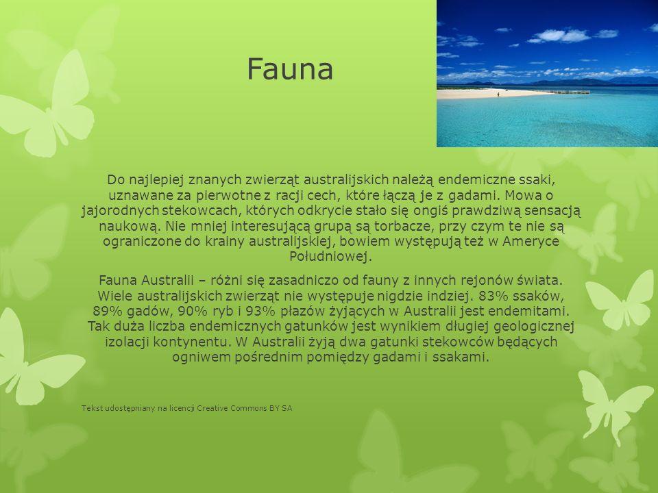 Fauna Do najlepiej znanych zwierząt australijskich należą endemiczne ssaki, uznawane za pierwotne z racji cech, które łączą je z gadami. Mowa o jajoro