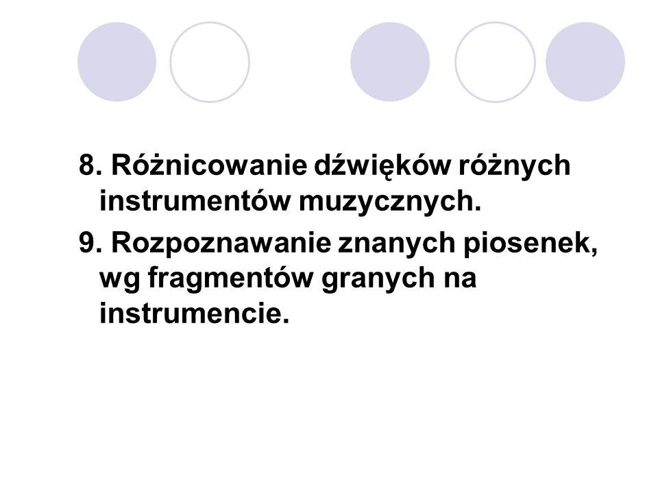 8. Różnicowanie dźwięków różnych instrumentów muzycznych. 9. Rozpoznawanie znanych piosenek, wg fragmentów granych na instrumencie.